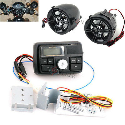 Bluetooth Motorcycle Handlebar Audio Stereo Speaker System MP3 Player USBSD 12V