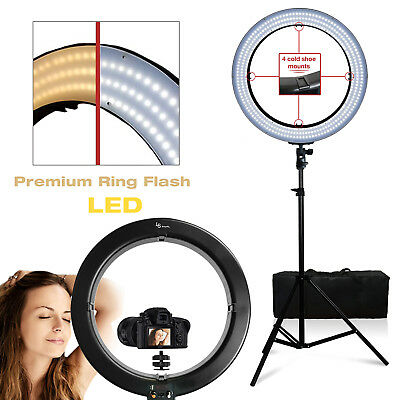 18 55W LED SMD Dimmable Ring Light Stand Phone Mount Lighting Photo Video