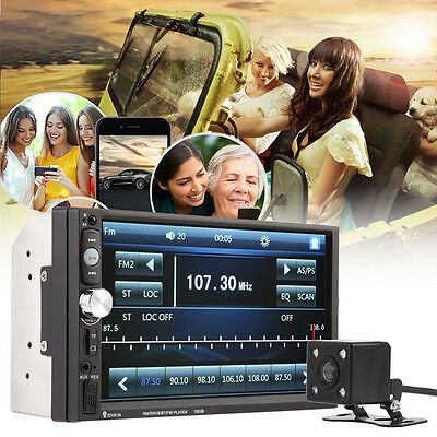 7Inch LCD 2DIN 7023B FM Radio Bluetooth Car Stereo MP5 Player -4X LED Car Camera