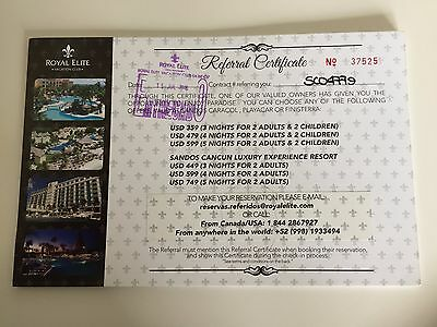 Referral Certificate to Royal Elite Vacation Club