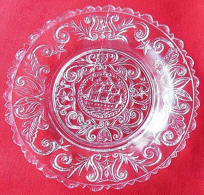 Antique EAPG Pressed Lead Glass Cup Plate Lee Rose 610-B Sailing Ship