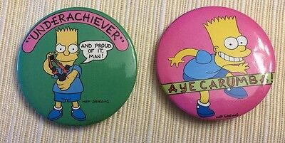 1989 Vintage Lot of 2 BART SIMPSON 1 34 METAL PIN BUTTONs  Underachiever