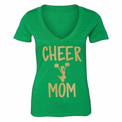 Mothers Day t shirt Cheer Mom cheerlead V-neck T-shirt Queen t-shirt S-6X Green