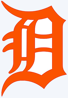 Detroit Tigers Old English D Logo Decal Window Sticker - You pick Color - Size