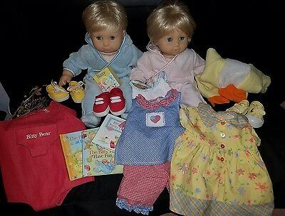 American Girl Bitty Baby Lot Twins Originals Blonde hair Blue Eyes with Extras