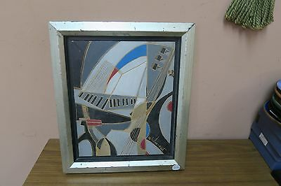 Vintage 1998 Signed Dimitri Louka Original Abstract Cubism Oil Painting On Board