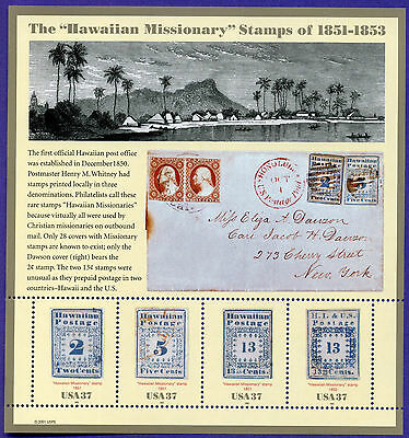 US SC 3694 a-d HAWAIIAN MISSIONARY MNH OG PANE OF STAMPS