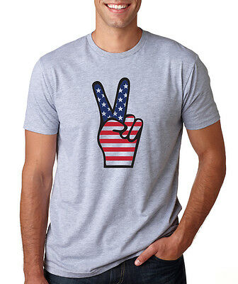 AMERICAN FLAG PEACE SIGN Patriotic Victory USA Fathers Day 4th of July T-Shirt