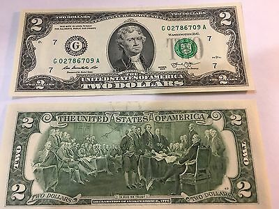 NEW Uncirculated 2 two Dollar Bill Note  Sequential USD BEP -Chicago