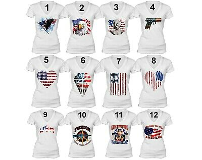 American Flag distressed 4th of July T-shirt Clothing USA Pride Shirt White