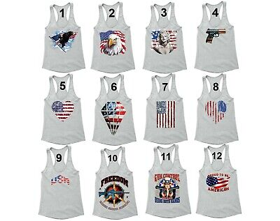 American Flag Eagle distressed Fourth 4th of July Gun Racerback Tanktop USA Tank