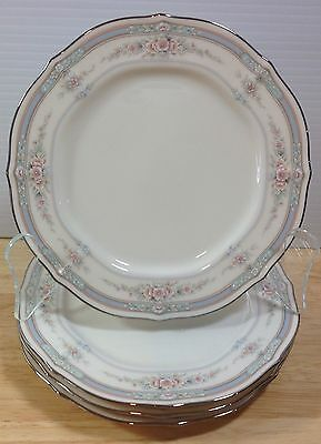 Noritake Rothschild 4 Bread Butter Plates Pink Floral Baroque Blue Band China