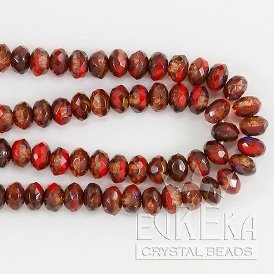 5x3mm CRYSTAL RED PICASSO Czech Glass Gemstone Rondelles Beads 50pcs