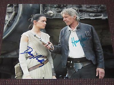 Daisy Ridley Harrison Ford Rare Autographed 8x10 Photo Signed