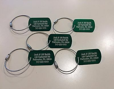 Personalized Metal Luggage tags set of 5 with free cables- Five color options