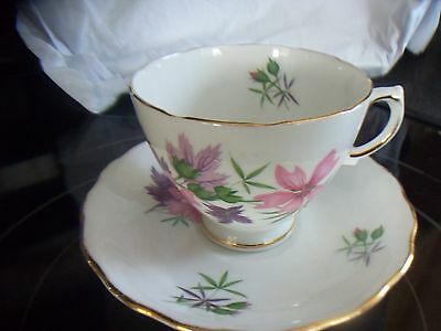 Colclough White with Flowers Cup - Saucer Scalloped Edges