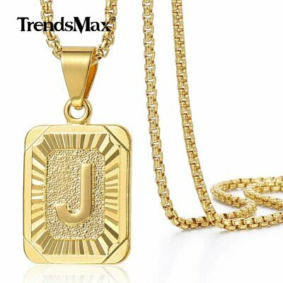 18-30 Womens Mens Gold Plated Initial A-Z Letter Pendant Necklace Steel Chain