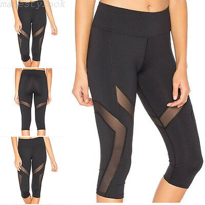 Damen Sporthose 3/4 Leggings Tights Training Laufhose Fitnesshose Yoga Jogging
