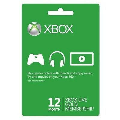 12 Month Xbox One360 Live Gold Membership Subscription Code Fast Shipping