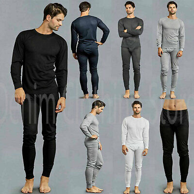 Mens 2 pcs Thermal Underwear Set Long Sleeve Johns Waffle Knit Top Bottom S3XL