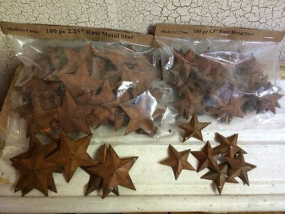 200 TOTAL Rusty Barn Stars 100 1-5 - 100 2-25 Country Rust Rustic Craft