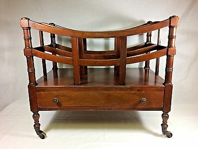 Antique Vintage Mahogany Magazine Rack w Dove Tail Drawer and Brass Casters