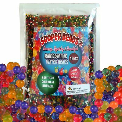 SooperBeads Water Beads Rainbow Mix 16 oz 45000 beads for Orbeez Spa Refill