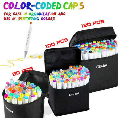Ohuhu 80 Colors Dual Tips Art Sketch Twin Marker Pens Highlighters - Carry Bag