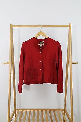 Coldwater Creek Womens Red Button Front Blouse Top Size PS NEW