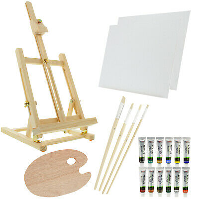 US Art Supply 21 Piece Acrylic Painting Set with Table Easel Canvas 12 colors
