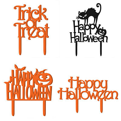 HAPPY HALLOWEEN LETTER CAT PUMPKIN SCARY CAKE TOPPERS WEDDING ANNIVERSARY