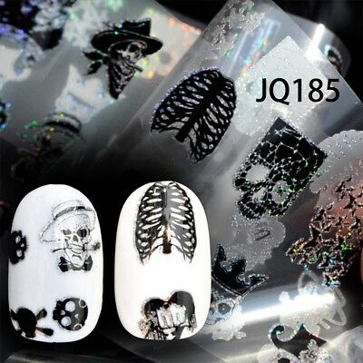 HALLOWEEN HOLOGRAPHIC STARRY NAIL FOIL SKULL MANICURE NAIL ARTS TRANSFER STICKER