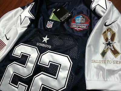 Brand New Cowboys 22 Emmitt Smith Throwback Bluewhite Dual Patch SEWN Jersey