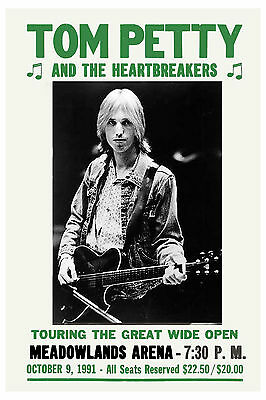 Tom Petty - Heartbreakers at New Jersey Concert Poster 1991