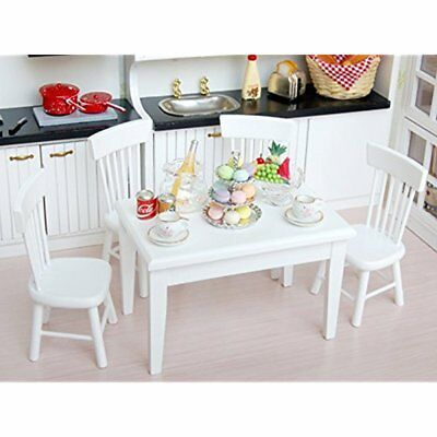 US 5pcs White Dining Room Table Chair Set for 112 Dollhouse Miniature Furniture
