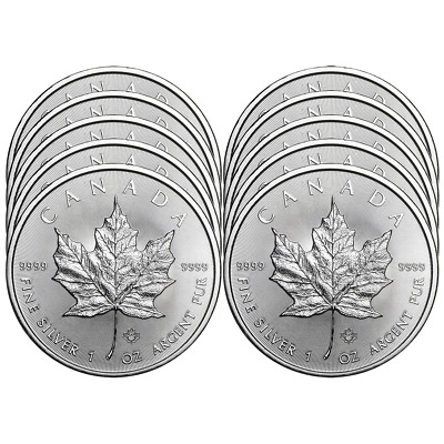 Lot of 10 - 2018 5 Silver Canadian Maple Leaf 1 oz Brilliant Uncirculated