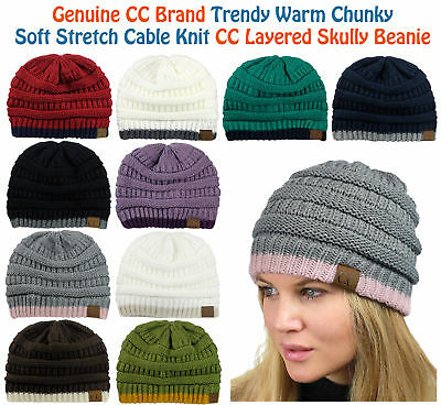 NEW CC Beanie Trendy Warm Accent Lined Chunky Soft Stretch Cable Knit Beanie