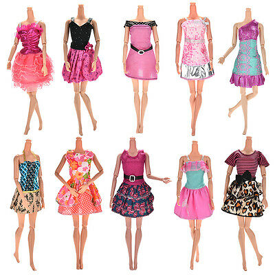 10x Party Wedding Dresses Clothes Gown For Barbie Dolls Girls Random Style DQ