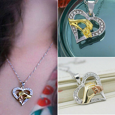 Mothers Day Mom Hold Kids Children Hand Love Heart Pendant Charm Chain Necklace
