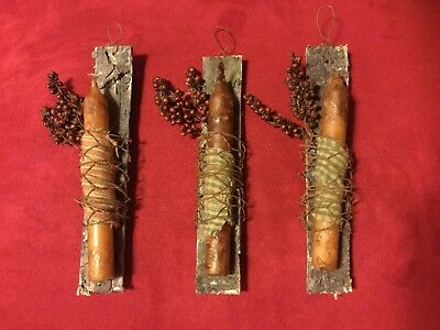 Primitive rustic candle peg Country Christmas Ornaments-handmade 3