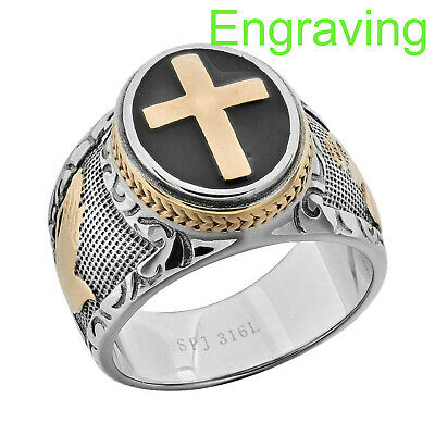 Mens Black - Silver Stainless Steel Christian Holy Cross Ring Size 8-14