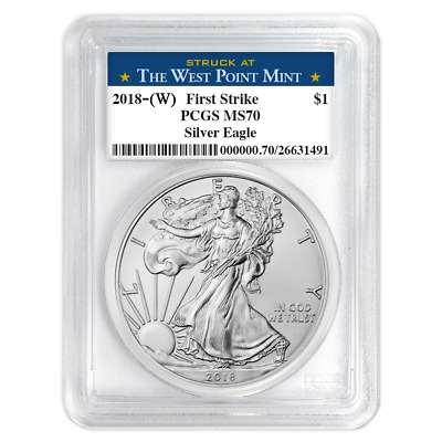 2018 W 1 American Silver Eagle PCGS MS70 West Point First Strike Label