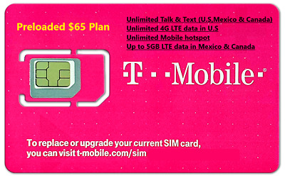 First Month 70 T-Mobile One Unlimited 4G LTE Plan Preloaded Prepaid SIM Card