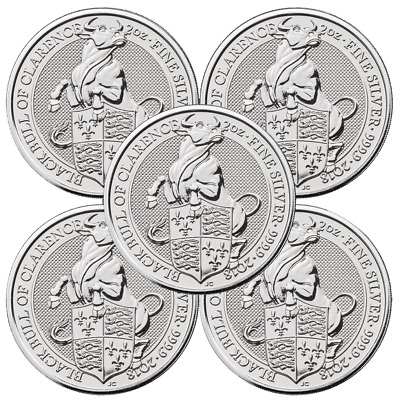 Lot of 5 - 2018 U-K- 5 Pound Silver Queens Beast The Black Bull -9999 2 oz BU