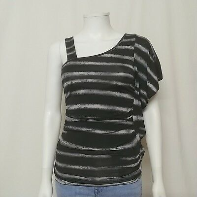 Wet Seal Womens Small Sexy Striped Cold Shoulder Blouse Party Top Purple Gray