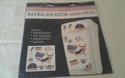 Fourth Of July Refrigerator Magnets USA Freedom Bell Eagle - Fire Works New