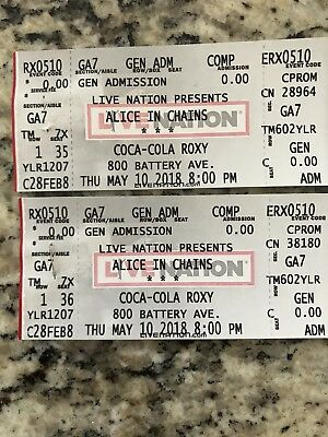 Alice In Chains Tickets 51018 The Coca Cola Roxy General Admission