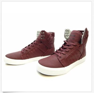 Supra Men Skytop Burgundy White 08002-650-M Men Shoes Size 11 New in Box