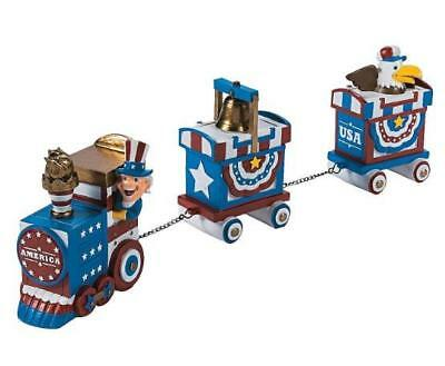 Festive 4th of July Patriotic Stars - Stripes Express Train Holiday Display