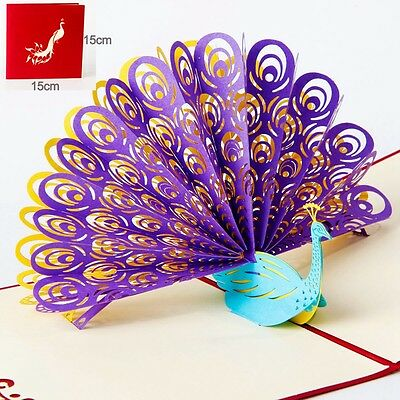 3D Pop Up Greeting Card Peacock Birthday Easter Anniversary Mother's Day US SHIP